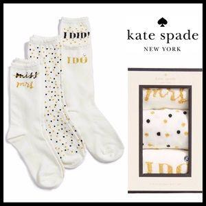 KATE SPADE BRIDE BRIDAL MRS. BOXED SOCKS SET